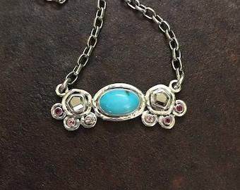 Turquoise, Pyrite & Pink Tourmaline Horizontal Necklace