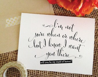 Will You Be my Maid of Honor Proposal Will you be my maid of honor card Wedding Card Ask maid of honor Card