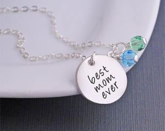 Christmas Gift, Best Mom Ever Necklace, Personalized Silver Mother's Charm Necklace, Mom Jewelry