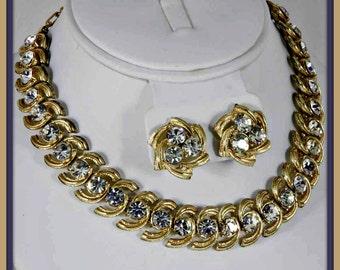 Vintage Coro Rhinestone Demi-Parure,Vintage Coro Rhinestone Jewelry Set,Vintage Rhinestone Jewelry,Vintage Coro Rhinestone Jewelry,Coro