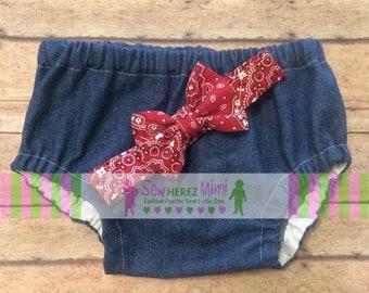 COW Farm Birthday Denim JEANS Diaper Cover Optional RED Bandana Bow Tie Cake Smash Newborn Photo Prop