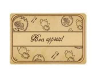 Box of 4 stamps scrapbooking BON APPETIT wood
