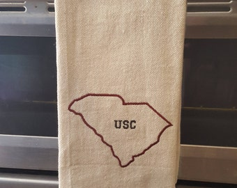 Embroidered Dish Towel, South Carolina Outline, University of South Carolina Gamecocks,  Kitchen Towel, Personalized Towel, SC, Linens