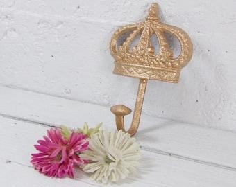 Crown Hook/ Princess Hook/ Wall Hook / Blue Crown Hook / Shabby Chic French / Cast Iron / Princess Crown Hook / Crown Hook