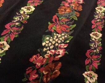 Vtg 80s Dark Floral Flocked Velveteen High Waist Skirt