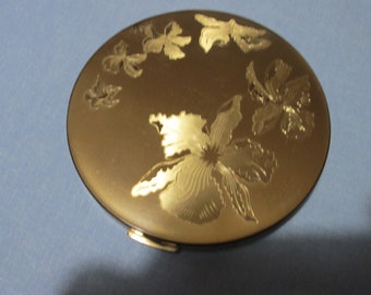 1940s Elgin American Compact with orchids. makeup face powder beauty cosmetics powder compact facial vanity powder storage bath and beauty