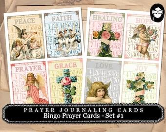Prayer Journaling - Bingo Prayer Cards - Set #1 - 2  Page Instant Download - scripture art, bible journaling kit, printable verses