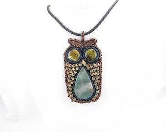 Necklace-owl series-glass cabochon eyes-natural stone body-bead embroidered-nature jewelry-bird jewelry-handmade-artisan jewelry-beadwork