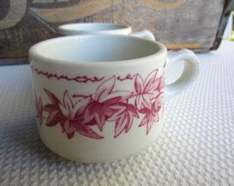 Vintage 1930s Red Maple Leaf Cups Shenango China Restaurant Ware