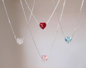 Swarovski Tiny Heart Necklace, Red Heart Necklace, Small Heart Necklace, Crystal Heart Necklace, Blue Heart Necklace, Pink Heart Necklace