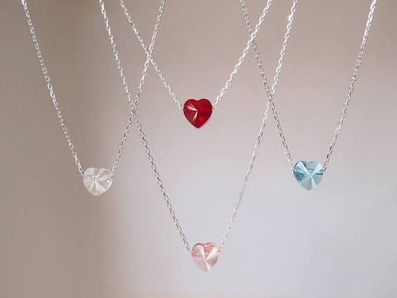 Crystal heart necklace red heart necklace blue heart necklace mozeypictures Images