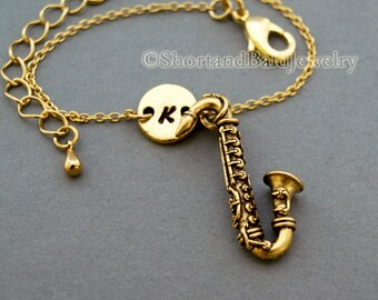 Saxophone charm bracelet, antique gold, initial bracelet, friendship, mothers, adjustable, monogram