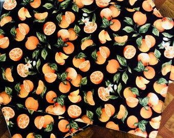 Reversible oranges and black gingham placemats set of 4