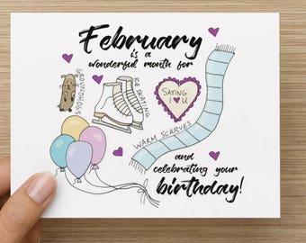 February is a Wonderful Month for Celebrating Your Birthday Recycled Paper Folded Birthday Card