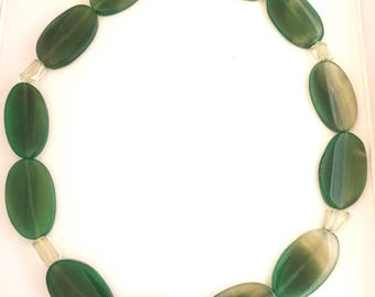 Shimmering Green Agate and Amethyst Necklace