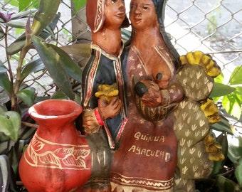 Figurine Peru Quinua Ayacucho Andes Family Folk Art Vintage Souvenir