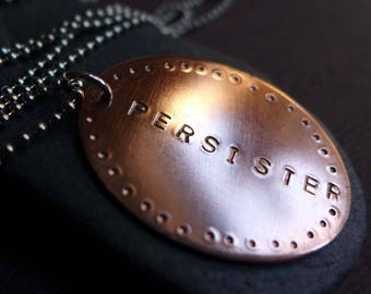 PERSISTER Necklace, Resist Necklace, Anti-Trump Jewelry, Political Jewelry 2017, Call to Action Pendant, Anti-Trump Jewelry, Sisterhood