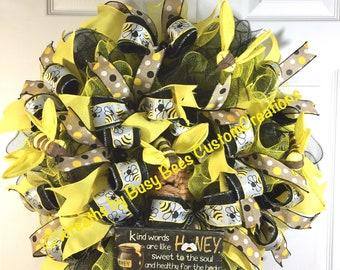 Summer Wreath, Bee Wreath, Yellow, Black, Yellow and Black Bee Wreath, Front Door Wreath, 24' AROUND