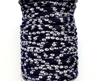 cords Japanese 3mm, Chirimen, Navy Blue and white (C3413-3)