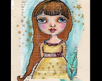 Big eyed girl, Pen and Ink, Illustration, Children's wall art, Original Drawing