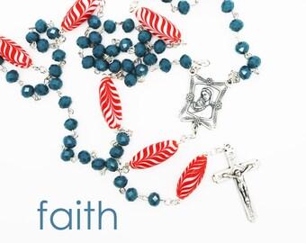 Rosary--Handmade Rosary--Red/Sky Blue--Gift for Her--Catholic--Prayer Beads--Inspirational--One of a Kind--Hope--Pray--Contemporary--Faith