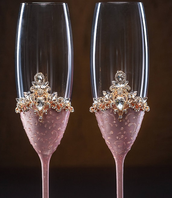 Personalisierte Rosa Gold Hochzeit Gläser Sektgläser Gravur