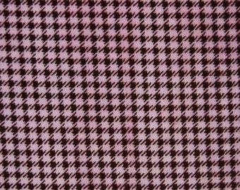 SPRING SALE - Houndstooth in Brown/Hot Pink - 1 yard - Minky - from Shannon Fabrics