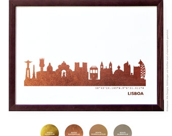 LISBOA Art Print, Lisboa Artwork, Lisboa Decor, LISBOA Poster, Lisboa Wall Art, Lisboa Skyline, Lisboa Gift, Wedding Gift,