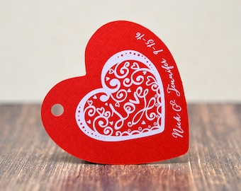 Red White Heart Love Tags - Custom - Wedding - Hang Tags - Favor Tags - Thank You Tags  | DS0114