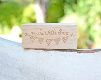 Pennant Rubber Stamp - Made with love - Customized Stamp