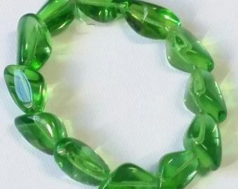 Transparent Grass Green Vintage German Glass Triangle Beads 15mm x 10mm