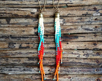 Long Fringe Earrings, Seed Bead Earrings, Long Boho Earrings, Seed Bead Earrings,  Southwestern Earrings,  Native American Inspired