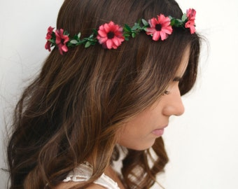 THE BIANCA - Red Flower Green Crown Floral Hair Wreath Woodland Rustic Circlet Bride Wedding Romantic Elegant Flower Girl Spring