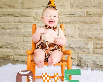 Choose Your Team Colors! Football Sports 1st Birthday Smash Cake Party Outfit Photo Prop Bow Tie Hat Baby Toddler Boys Bottoms
