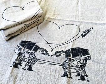 Kitchen Towel: Love AT-AT First Sight, Star Wars Tea Towel, Star Wars Kitchen Towel, Star Wars Parody Kitchen Towel