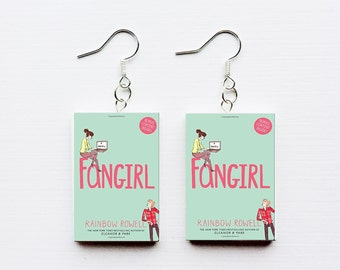 Fangirl mini book earrings