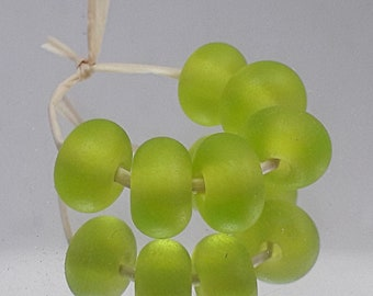 Lime Frost, Artisan Lampwork Glass Beads, SRA, UK