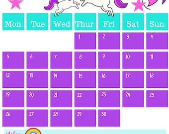 November 2018 Printable Calendar A4 Unicorn