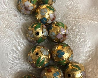 Vintage Gold Chinese Cloisonne Round Beads With Flowers