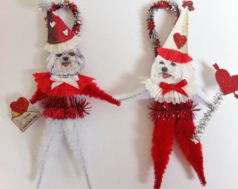 VALENTINE Maltese doggie vintage style CHENILLE ORNAMENTS set of 2 feather tree