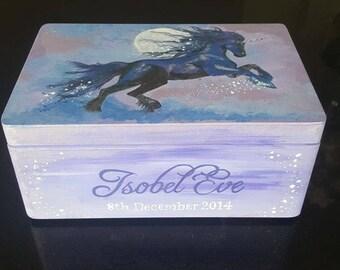 Personalised Keepsake box. Memory box. Christening, birthday, baby shower gift - Custom design and hand painted