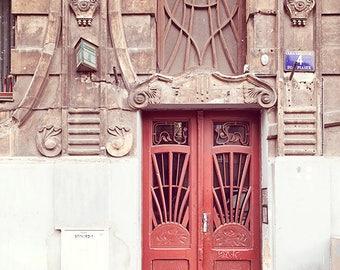 Red Door Photograph, Krakow, Poland Photography, Rustic, Architecture, Travel Photograph, Door Picture, Entryway, Foyer Art, Old Door Print