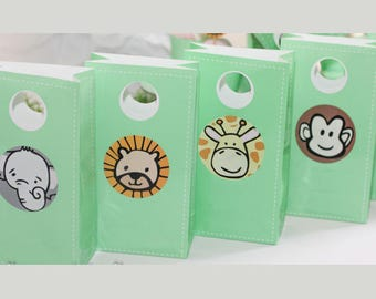 Baby Animals / Safari / Jungle Animals gift, party, favour bags (pk of 4)