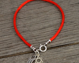925 Sterling Silver Star of David & Hamsa Hand on Red String Bracelet - Choose Size!
