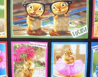 Chipmunks Fabric,  Chipmunks Panel, Realistic Photos,  Chipmunks Dressed Up, Chipmunk Sayings, 1 Panel
