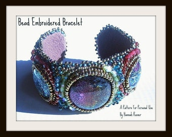 Beginning Bead Embroidery Pattern or Instructions - Seed Bead Embroidered Tutorial Cuff Bracelet by Hannah Rosner