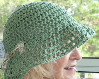 Cute green chemo hat with a brim, Bohemian accessories, original crochet hat, great sun hat, free shipping USA, gift for her