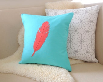Feather Pillow Cover - Boho Chic