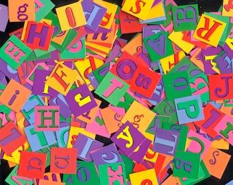 Alphabet Buchstaben Quadrate - Doppel: einseitige Briefe - Collage, Zeitschriften, Scrapbooking, Handwerk