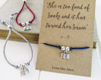 Book Lover Friendship Bracelet - Louisa May Alcott Quote - Gift for book lover - Silk cord bracelet - Best Friend - Literature Gift for her